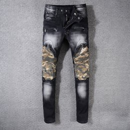 Wholesale Military Biker Patches - New France Style Men's Distressed Pants Ribbed Camouflage Patches Military Slim Black Biker Jeans Trousers Size 29-42