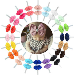 wholesale alice bands Promo Codes - hair band Child headdress 4 inch new 20 color child hair band large bowBig Alice bow elastic hair band