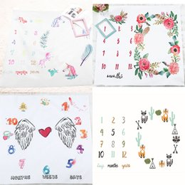 Wholesale Prop 14 - INS Kids unicorn Blankets cotton photo prop Blankets infant Swaddling Letter flower digital baby Sleeping Bag 100*100 cm 14 styles C2372