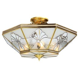 Wholesale noble mount - European Pure Copper Living Room Ceiling Pendant Light Bedroom Noble Copper carving glass Lampshade Study Room Ceiling Lamp Luxury