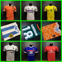 Wholesale Real Gold Men - 1988 Netherlands 1978 1986 Argentina 1990 Mexico 1998 France Brazil 04 15 06 17 Real Madrid ronaldo zidane retro soccer jersey