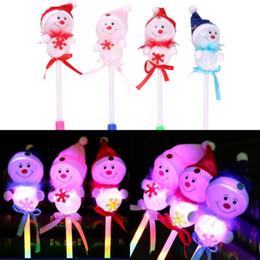 enciende muñeco de nieve Rebajas Navidad LED parpadea palos Light-Up juguetes niños navidad muñeco de nieve decorativo con Glow Stick bebé año nuevo regalos