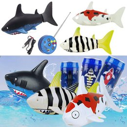 Wholesale Toy Swimming Sharks - Amazing Mini Electric RC Fish Shark Swim in Water Remote Control Animal Toy Simulation Electric Fish for Kids OOA3893