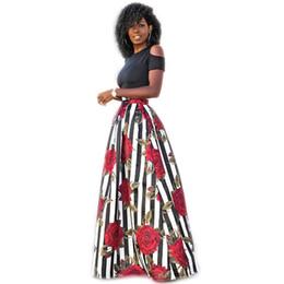 Senhoras tops saias longas preto on-line-2018 Plus Size 5XL Mulheres Verão Maxi Saias Longas Preto Sexy Tops Duas Peças de Moda Feminina Feminina Saias Florais Vestidos DP814559