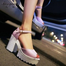 Discount back high heels for women - Wholesale- Drop Shipping Thick High Heels Platform Summer Dress Shoes For Women Sexy Casual Peep Toe Sandal Hot Sale