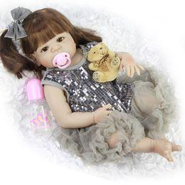 Wholesale Full Body Design - NPK New Design Lovely New Born Baby Girl Doll Toy 23'' Realistic Reborn Dolls Silicone Vinyl Full Body Alive bebe Boneca Reborns