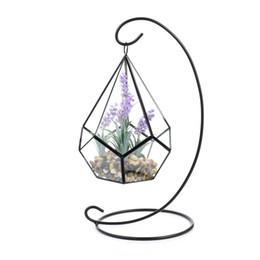 Piante artificiali di terrario online-Vaso di fiori artificiali Set di vasi - Forma di lacrime Vetro Poliedro Geometrico Ornamento di terrario Appeso con un grande centrotavola in metallo Vaso