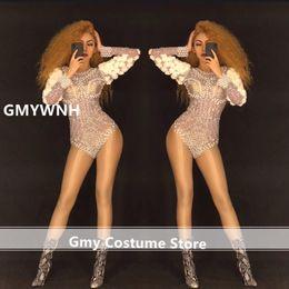 Just K35 Sexy Ballroom Dance Costume Stage Wears Long Dresses Dj Singer Performance Outfit Bar Jumpsuit Female Bodysuit Rhinestone Home & Garden