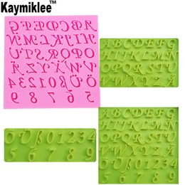 fondant shaped letters Coupons - Kaymiklee M164 Hot Selling FDA New Arrival Number and Letter shape Silicone Mold Cake Decoration Fondant Cake 3D chocolate Mould