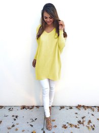 Wholesale Stylish Womens Tops - New Fashion Spring Autumn Women Ladies Casual Pullover Long Sleeve Loose Tops V-neck T-Shirt Stylish Womens Loose Long T-Shirts