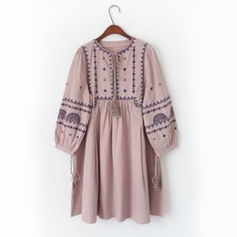 Wholesale Girls White Cotton Dresses - Autumn Spring Mori girl Dresses for women Embroidery Long sleeve O neck women dress White Blue and Pink colors