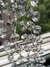 Wholesale Wholesale Manzanita Tree - 198 FEET Crystal Garland Strands 14mm clear Acrylic crystal octagon beads chain Wedding Party Manzanita Tree Hanging Decorations