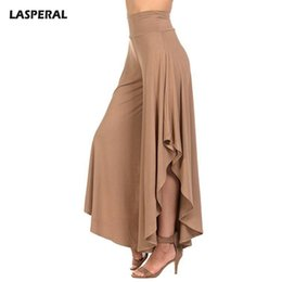 9006217f17b LASPERAL 2018 Elegant Irregular Ruffles Wide Leg Pants Women High Waist  Pleated Pants Femme Casual Loose Streetwear Trousers S18101602