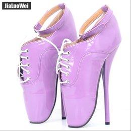 Botas de tacones mujer desnuda online-Ultra High Heels Drag Queen Ballet Pumps con cordones Mujeres Sexy Fetish Thin Heel Botas desnudas Hombre SM Zapatos de baile Púrpura 18 cm