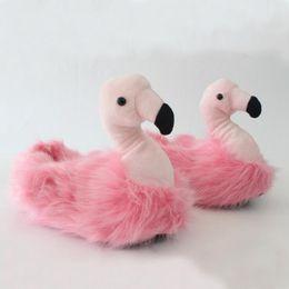 Wholesale Red Bird Cartoon - Women Flamingo Slippers Warm Cartoon Indoor Slippers Plush Cartoon Flip Flops Flock Funny Bird Shoes House Slippers LJJO4050