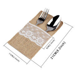 Wholesale Shabby Lace - Vintage Shabby Chic Jute Burlap Lace Tableware Fork Knife Burlap Holder Cutlery Pocket Wedding Table Decoration free shiping