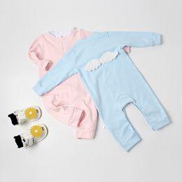 2018 Neugeborenes Baby Strampler Langarm Baumwolle Engelsflügel Sunsuit Overall Outfits von Fabrikanten