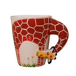 cup paintings Coupons - 3d Animal Giraffe Shape Hand Painted Ceramic Coffee Mugs Milk Tea Cups Cute Cartoon Elephant Dolphin Penguin Sika Deer Cups Gift