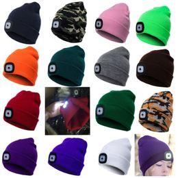 44ac0aa986a79 casquettes de noël Promotion Nouvelle Led Lumière Bonnets Tricotés Chapeau  Chapeaux Femmes Hommes Hiver Chaud Chapeau
