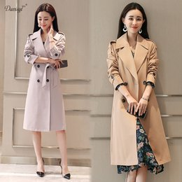 3aa5e5d9015 Solid Women Clothing Spring Autumn Double Breasted Long Coat 2018 New  Fashion Belted trench coat Plus Size Outwears trench S-4XL