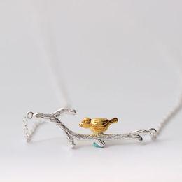 Wholesale bird pendant 925 - Charm original folk style Pendant Necklace 925 sterling silver jewelry Creative Color Bird Pendant Chain clavicle doubles branch wholesale