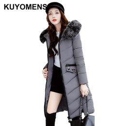 Wholesale womens pink coat fur - KUYOMENS Large Fur Collar Ladies Coats Snow Wear 2017 Winter Coat Women Parka Long Slim Womens Jackets And Coats Outerweare