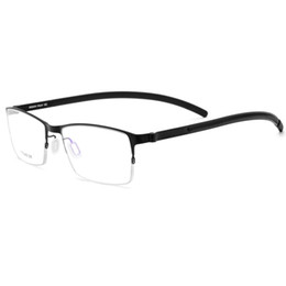4b37e0096ca Men Titanium Reading Glasses Frame Square Prescription Eyeglasses Male Semi  Rimless Myopia Optical Korean Screwless Eyewear 2018