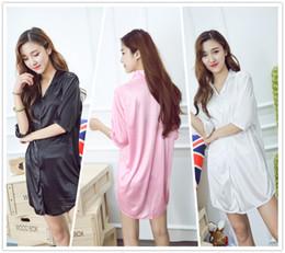 Wholesale Woman White Plain Shirt - Plain Color Smooth Women Sleepwear Pajama Nightwear Nightdress Sleepshirt L-XL