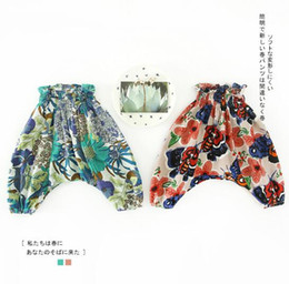 Wholesale red mosquitos - NEW arrival Baby clothes summer Girls Vintage Flower Print all-match 100% cotton anti-mosquito baby girl Harme pant