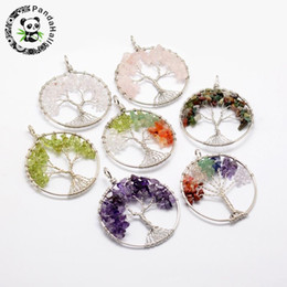 Wholesale Nickel Stone - Tree of Life Mixed Stone Bead Brass Wire Wrapped Big Pendants, Cadmium Free & Nickel Free & Lead Free, 50~64x48~52x5~8mm, Hole:
