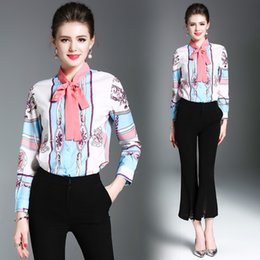 Camicia di stampa primavera nuove donne di arrivo moda femminile manica  lunga lavoro elegante camicette cravatta d94b42714893