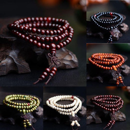 Wholesale wood halloween - 108*6mm Sandalwood Buddhist Buddha Meditation Beads Bracelets Natural Wood Prayer Bead Mala Bracelet 5 Colors AAA254