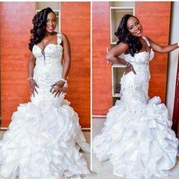 Elegant Organza Ruffle Plus Size Mermaid Lace Wedding Dresses Straps Tiers  Middle East Arabic Country Bridal Gown Bride Dress Custom 8607d2f381cc
