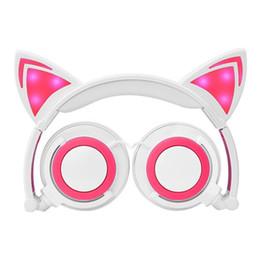 Ноутбуки детские онлайн-Дети косплей кошка ухо складной мигающий светящиеся детские гарнитуры игровые наушники светодиодные наушники-вкладыши для портативных компьютеров ПК USZ167