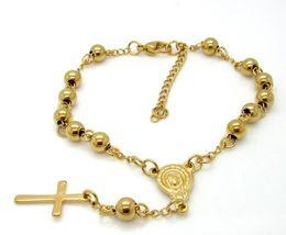 Wholesale united links - Europe and the United States stainless steel ball bracelet Jesus cross pendant gold-plated fashion wild titanium steel beads bracelet jewelr