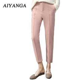 Wholesale Winter Casual Pants For Women - S-2XL New Fashion Woolen Pants For Women High Waist Harem Pants Big Size Ankle-Length Trousers Solid Color Pink Winter 2018