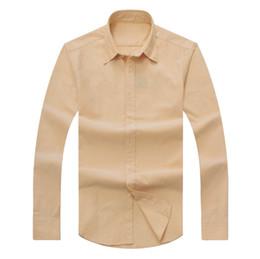 Wholesale Brown Social - New 2018 men long-sleeved Casual Solid shirt men's USA American Brand RL Polos Shirts fashion Oxford social shirts Small Horse Dress Shirts
