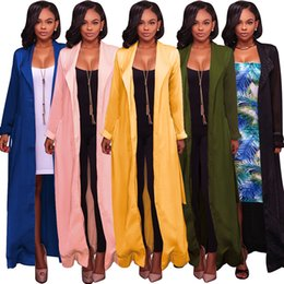 Wholesale Woman Trenchcoat - Hot Selling Fashion Long Trench Coat for Women Long sleeves Lady Trenchcoat Cardigans Casual Lady Tops Women Trench Coats