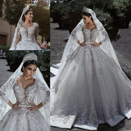 Wholesale sequin wedding ball gown dresses - New Luxurious Ball Gown Wedding Dresses 2018 Glamorous Long Sleeves Tulle Appliques Beaded Sequins Appliques Fitted Bridal Gowns BA7970