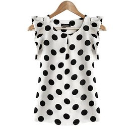 Женские белые блузки короткий рукав онлайн-2018 Hot Sales New Summer Womens Ladies Chiffon Blouse Puffed Short Sleeve Dot Print Top Blusa Plus Size XXL Black White
