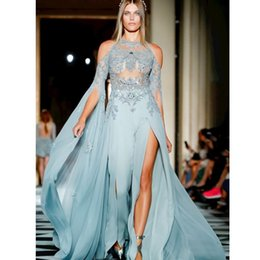 blue evening dress slit chiffon Australia - Glamorous Sexy Chiffon Prom Dresses With Pants Beaded Lace Applique Long Sleeve Slit Evening Dress Fashion See Through Celebrity Party Gown