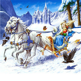 Wholesale Mountain Decoration - Diy diamond painting cross stitch kit rhinestone mosaic home decoration horse Snow mountain castle full round diamond embroidery yx2405