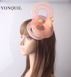 Wholesale crinoline hair - 17 colors high quality sinamay fascinator rhinestone brooch and crinoline loops cocktail hats bridal wedding hair accessories