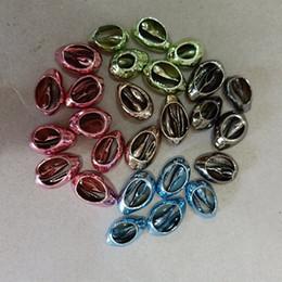 bracciale di seashell diy Sconti 5 colori 50 pz / lotto naturale cowrie conchiglie perline misura fai da te collana braccialetto monili che fanno ovale seashell per pendente mare conchiglia bead