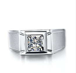 Argentina Anillo de proceso de chorro de arena para hombres 1ct anillo de compromiso de boda de diamante sintético plata esterlina 18K chapado en oro blanco joyería de los hombres de gran tamaño cheap process gold Suministro