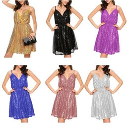 Wholesale Sexy Backless Midi Dresses - 6 Colors Sexy Elegant Womens Backless Sequin Dress Ladies Sleeveless Sequins Dress Evening Party Prom Gowns CCA8985 30pcs
