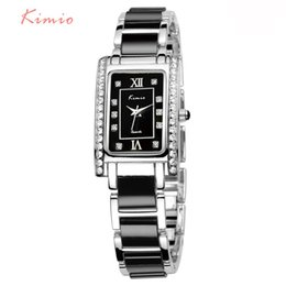 Wholesale Kimio Watches - KIMIO Rectangle Square Watch Women 2017 Luxury Brand Rhinestone Quartz Black Chinese Ladies Bracelet Watch Womens Wristwatch