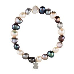 Wholesale gold beads bracelets - Trendy High quality stainless Grey white pink shell pearl beads bracelet gold silver rose gold jewelry for girl lady pulsera mujer oso