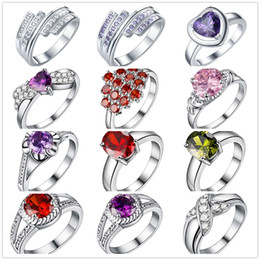 Wholesale ring heart red - Low Price Wholesale 925 Sterling Silver Plated Zircon Finger Ring Fashion Party Jewelry For Women Wedding Gifts Mixed Size 6# 7# 8#