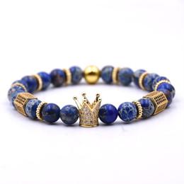 pietre lucide Sconti Micro Pave Black CZ Zirconia Golden King Crown Charm Bracciale Uomo opaco polacco opaco pietra perline Bracciali per uomo donna regalo